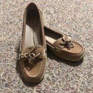 Tan Sperry Topsiders size 8.